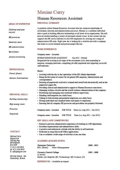 Human Resources Assistant Resume by Human Resources Assistant Resume Hr Exle Sle