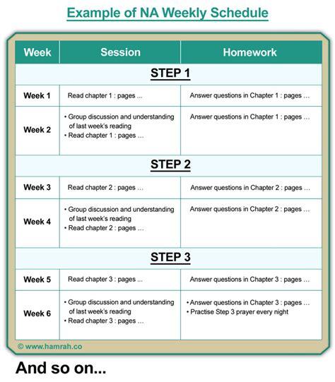 na step 3 worksheet 12 step weekly schedule