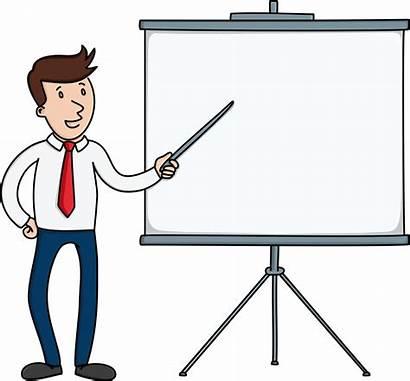 Board Clipart Presentation Pointing Cartoon Businessman Blank