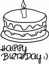 Birthday Happy Coloring Cake sketch template