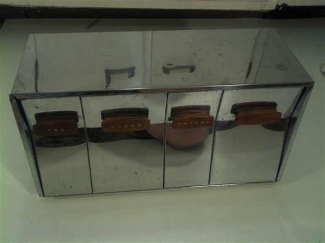 Vintage Metal Kitchen Canister Sets vintage retro metal chrome kitchen canister set 4 bins