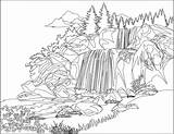 Waterfall Coloring Pages Jungle Drawing Colouring Watery Printable Environment Getcolorings Getdrawings Cliparting sketch template