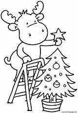 Coloring Tree Children Christmas Pages Printable sketch template