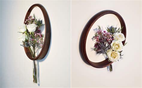 Minimalistic Wood Circle Vases On Wall