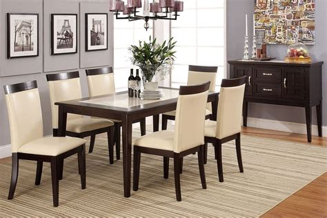 evious  cream marble top stylish dining table set pc