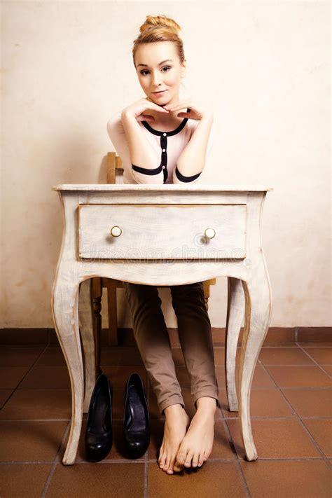 furniture vintage style vintage style barefoot sitting at retro desk stock 1142