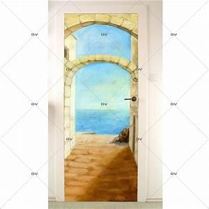Deco Porte Interieure En Trompe L Oeil : pds45 sticker porte trompe l 39 oeil deco vitres ~ Carolinahurricanesstore.com Idées de Décoration