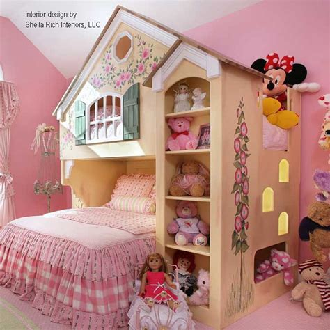 House Inspired Loft Bunk Bed Design For Kid Girl With