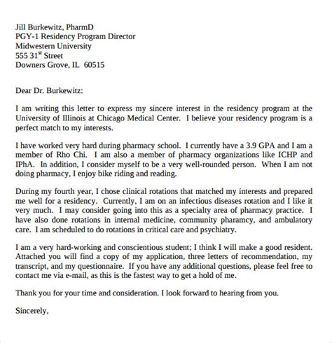 letter  intent medical school