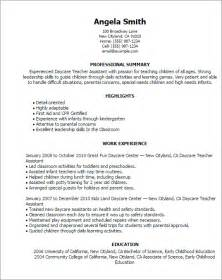 resume sle for preschool assistant professional daycare assistant templates to showcase your talent myperfectresume