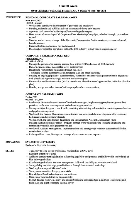Corporate Resume by Corporate Sales Manager Resume Sles Velvet