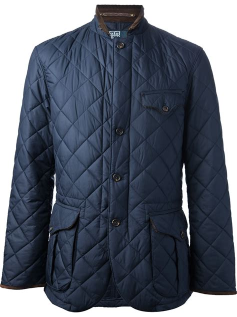 polo ralph quilted jacket in blue for lyst