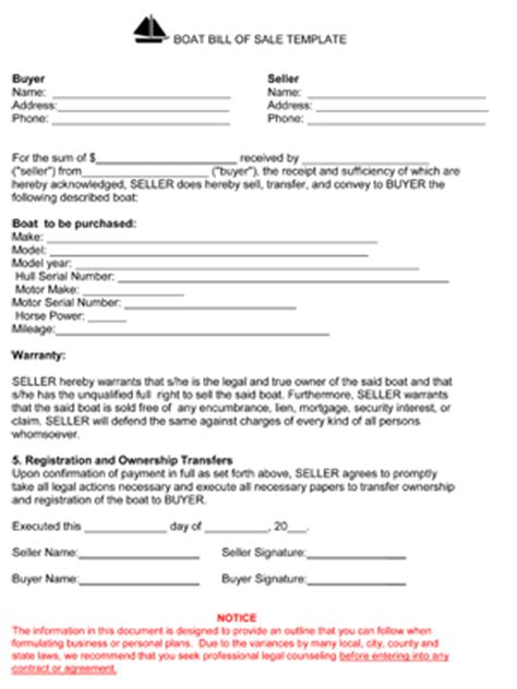 boat bill of sale template free printable boat bill of sale form generic
