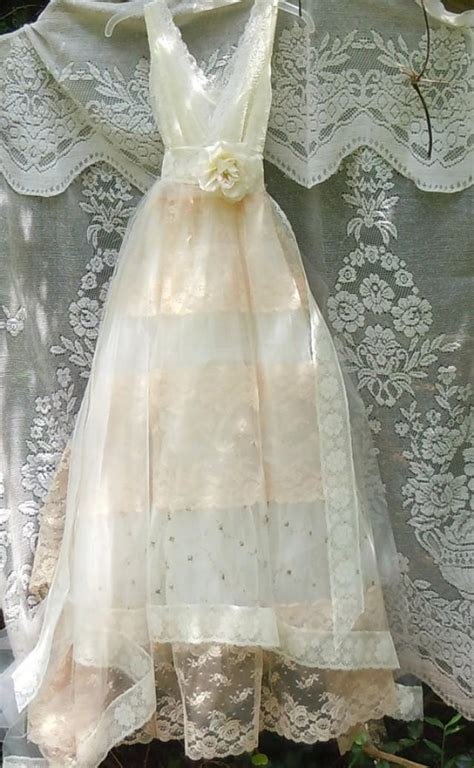Vintage Opulence by Tulle Wedding Dress Ivory Lace Floral Roses Boho