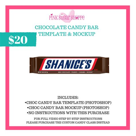 This free mockup includes a special layer for your own design which makes it easy to change and customize using this mockup template. PINK SUGAR SHOPPE CHOCOLATE CANDY BAR TEMPLATE & MOCKUP ...