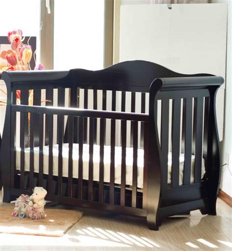 rustic baby cribs deluxe 3 in 1 sleigh cot with drawer walnut rustic