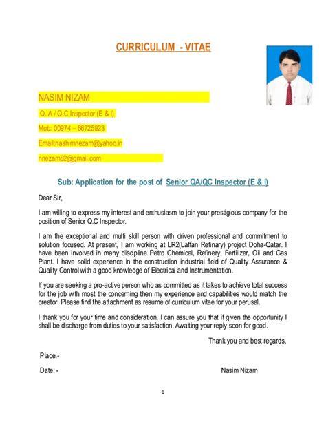 Instrument Qa Qc Inspector Cv by Qc Inspector E I