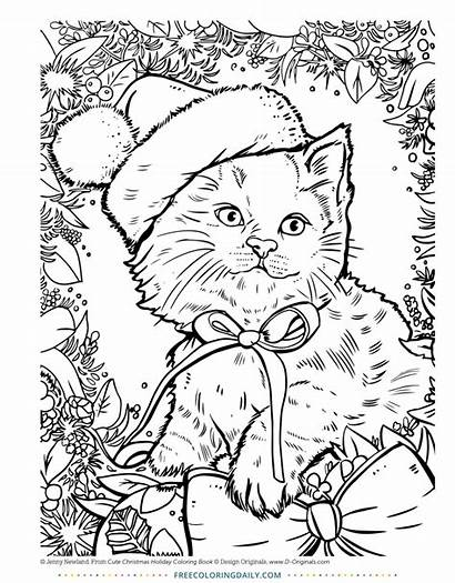Coloring Christmas Cat Pages Daily