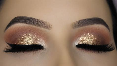 classic brown glitter eye makeup tutorial