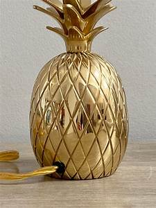 Brass, Pineapple, Lamp, Shiny, Gold, Small, Accent, Table, Lamp, Coastal, Lighting