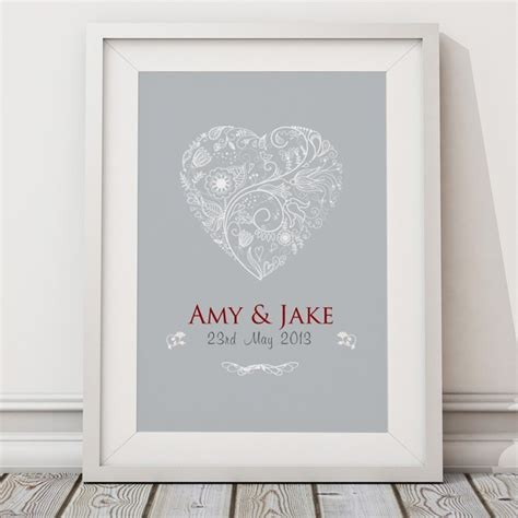 personalised wedding heart print canvas