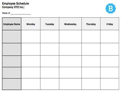 employee schedule template  instant downloads