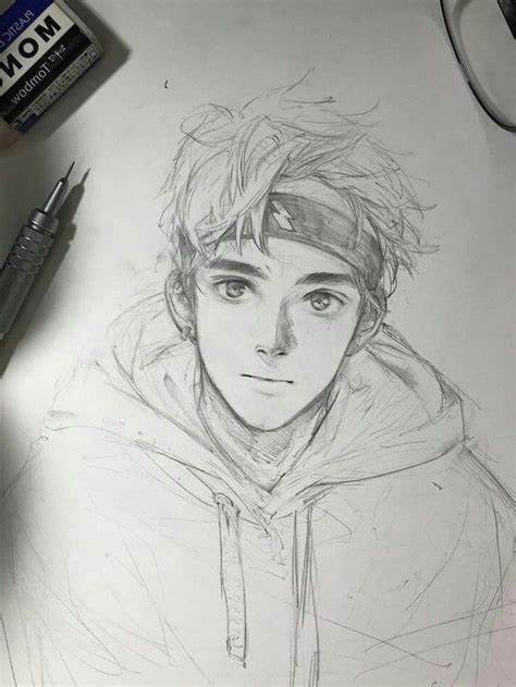 boy black and white pencil sketch anime drawing ideas
