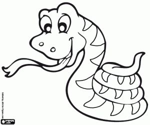 Happy coiled snake coloring page printable game