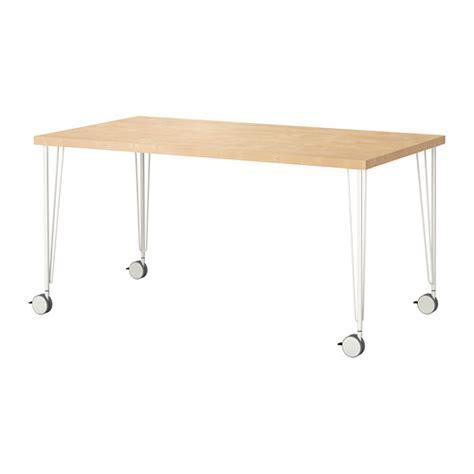 Ikea Desk Legs With Casters linnmon krille table birch effect white ikea