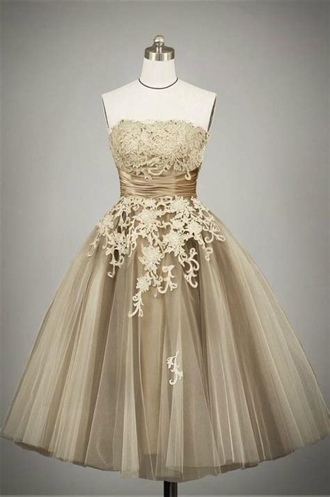 Retro 50s Tea Length Strapless Lace Tulle Formal Prom