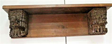 revised wall lintel shelf rack storage architect salvage carved wood corbel   unbranded