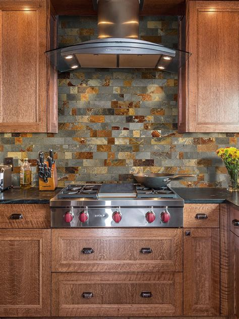 rusty brown slate mosaic backsplash tile  traditional