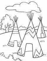 Teepee Americans Native Coloring Printable sketch template