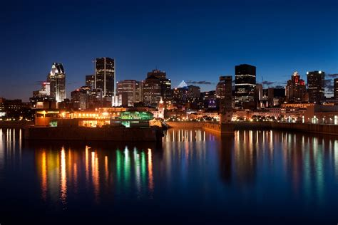 montreal canada city midnight river buildings town