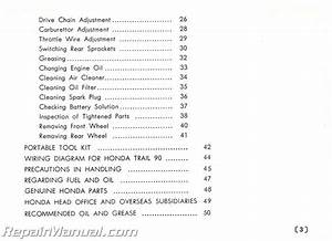 Used 1965 Honda Trail90 Model Ct200 Owners Manual