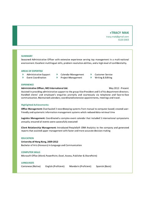 Best Resume For Administrative Officer by Sle Resume For Administrative Officer Gallery Creawizard