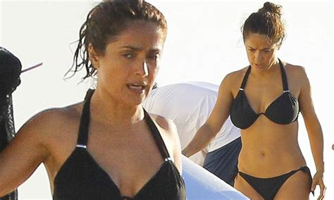 salma hayek reveals famous curves  bikini   enjoys