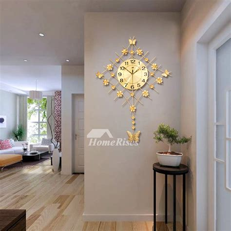 clock   wall leaf silent living room wrought iron