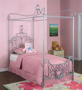 Powell princess rebecca sparkle silver canopy twin size for Twin bed canopy