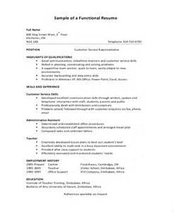 exle of functional resume template functional resume sle 9 exles in pdf
