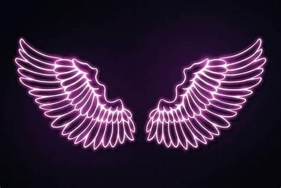 Wings Neon Outline Pink Overlay Sticker Rawpixel
