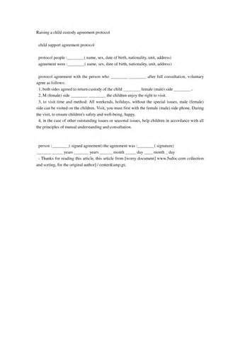 voluntary child support agreement letter sample places