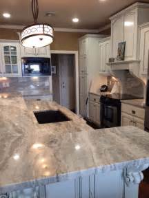polished brown quartzite kitchen counters and