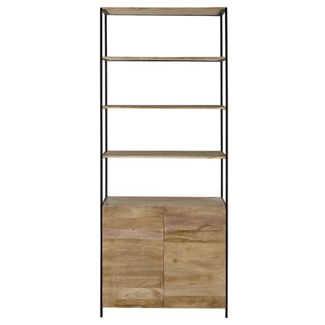 bed frame for boy mango wood and black metal bookcase l 85cm wilson