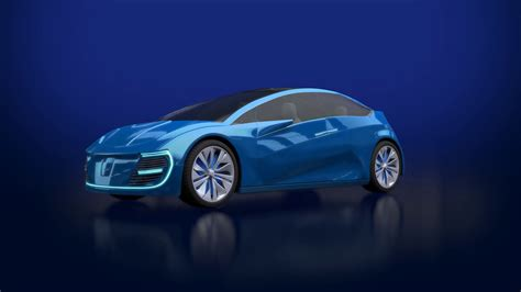 Animation of blue futuristic electric car with blue lights. Concept car design. 3d render. The ...