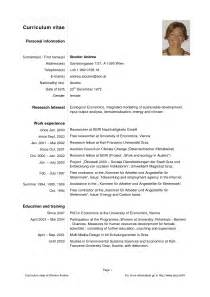 contents of personal information in resume sle of simple personal information curriculum vitae template basic curriculum vitae exle