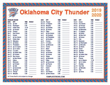 printable   oklahoma city thunder schedule