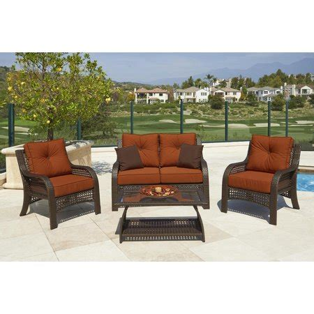 Resin Loveseat Patio Furniture by 4 Chelsea Cappuccino Resin Wicker Patio Loveseat