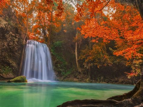 hd picture  nature  waterfall  autumn forest hd