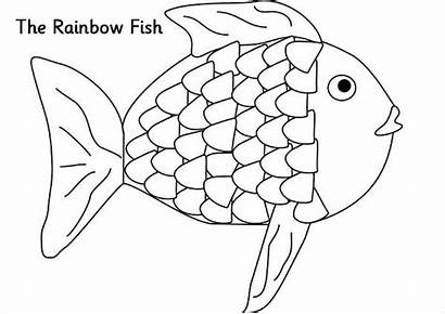 Rainbow Coloring Pages Fish Template Templates Unicorn